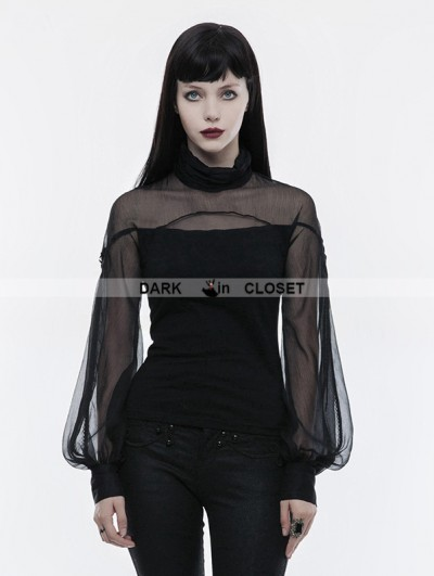 Punk Rave Black Gothic Lantern Sleeve T-Shirt for Women