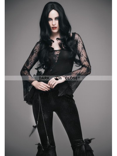 Eva Lady Black Romantic Gothic Sexy Flower Lace Shirt for Women