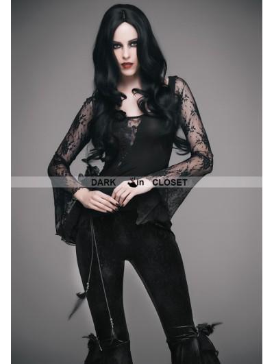 Eva Lady Black Romantic Gothic Sexy Flower Lace Shirt for Women