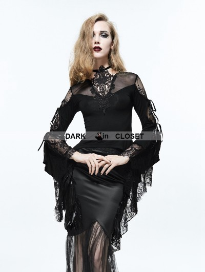Eva Lady Black Vintage Gothic Sexy Lace Long Trumpet Sleeves Shirt for Women