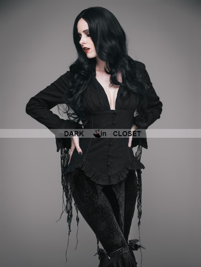 Eva Lady Black Gothic Sexy Deep V-Neck Lace Blouse for Women