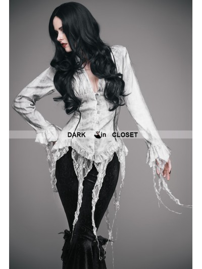 Eva Lady White Gothic Sexy Deep V-Neck Lace Blouse for Women