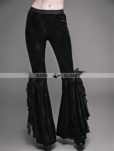 Eva Lady Black Vintage Gothic Velvet Flared Trousers for Women