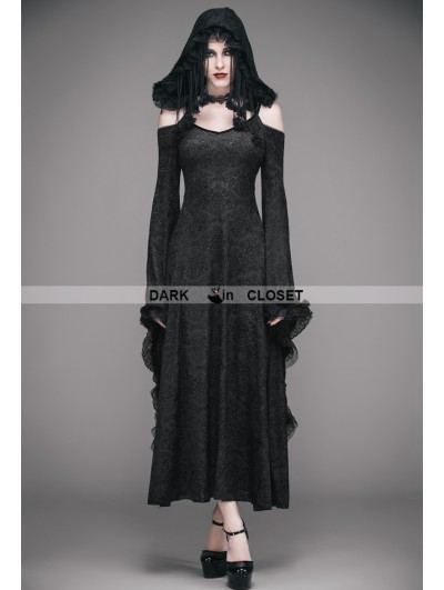 Eva Lady Black Off-the-Shoulder Gothic Vampire Hooded Tassel Dress
