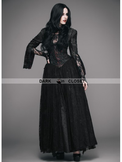 Eva Lady Black and Red Romantic Gothic Lace Underbust Corset Ball Dress