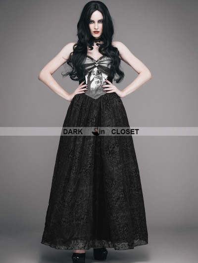 Eva Lady Black Gothic Ball Dress with Deer Ornaments