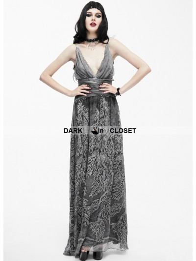 Eva Lady Sexy Deep V-Neck Gothic Goddess Evening Dress