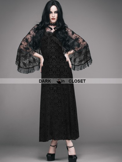 Eva Lady Romantic Black Gothic Dress with Detachable Lace Shawl