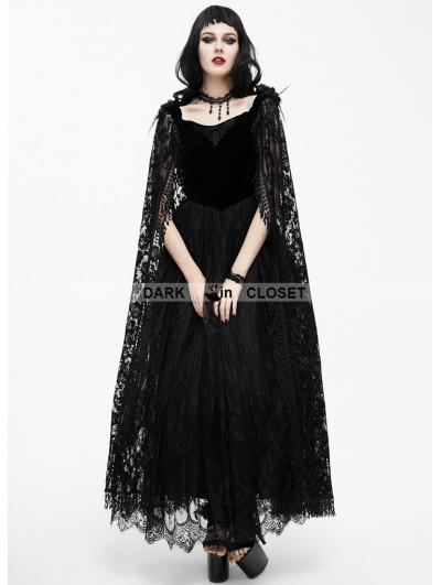 Eva Lady Black Romantic Long Gothic Dress with Lace Cape