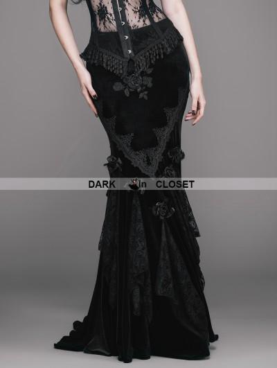 Eva Lady Romantic Gothic Flower Fishtail Skirt