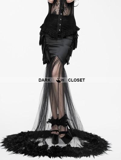 Eva Lady Fashion Black Gothic Feather Fishtail Skirt