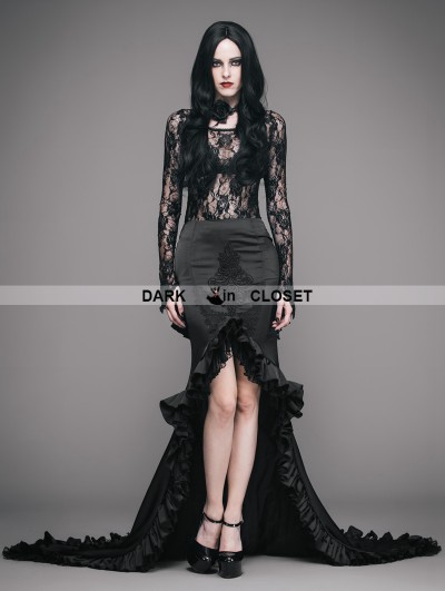 Eva Lady Black Vintage Gothic Elegant Fishtail Skirt