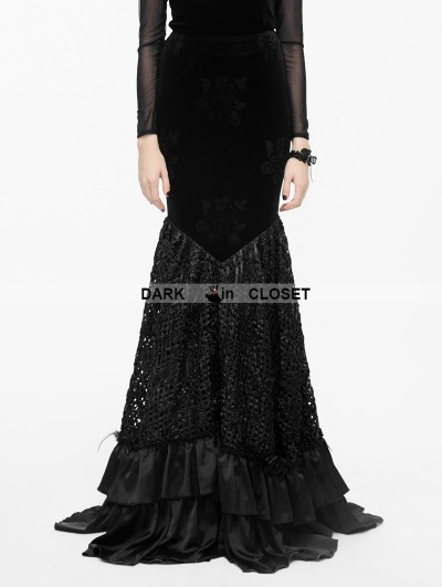 Eva Lady Black Floral Pattern Velvet Gothic Fishtail Skirt