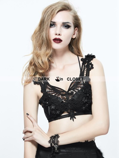 Eva Lady Black Gothic Feather Harness Bra