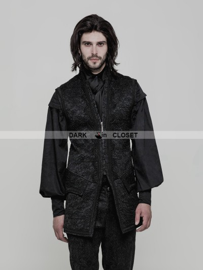 Punk Rave Black Gothic Vintage Victorian Gorgeous Long Vest for Men
