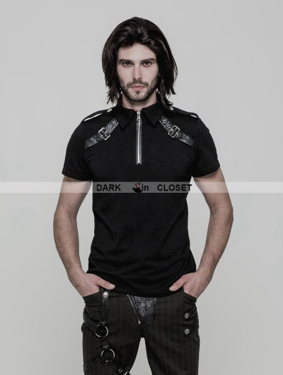 Punk Rave Black Gothic Punk Military Short Sleeves T-Shirt for Men
