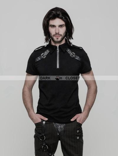 Punk Rave Black Gothic Punk Military Short Sleeves T-Shirt for Men