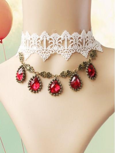 Handmade White Lace Pendant Gothic Necklace