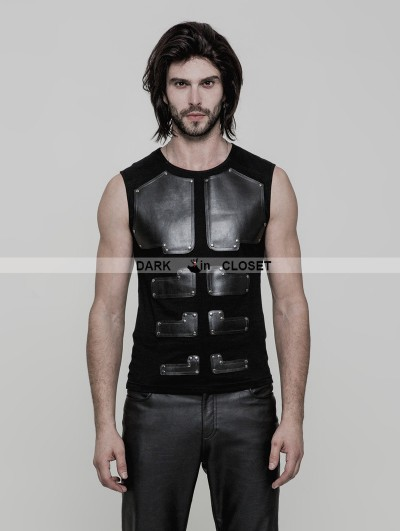 Punk Rave Black Gothic Punk Skinny Sleeveless T-Shirt for Men