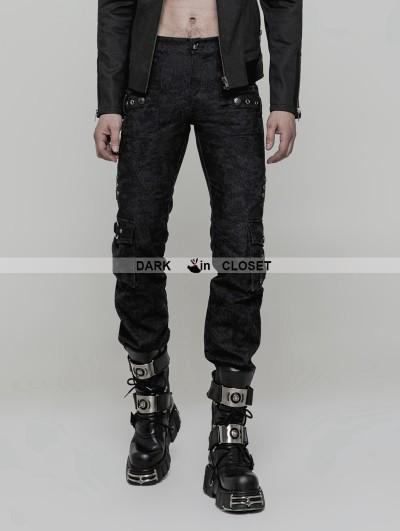 Punk Rave Black Gothic Punk Handsome Uniform Trousers for Men