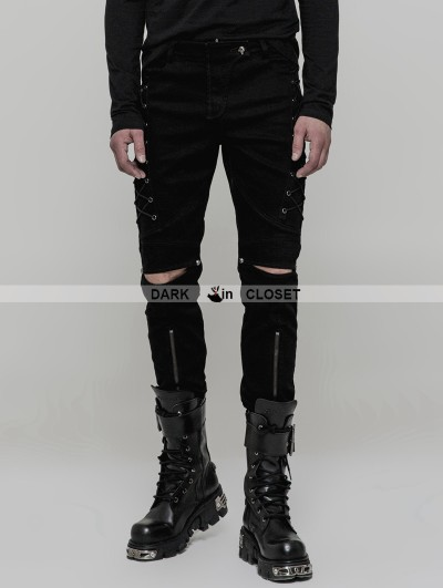 Punk Rave Black Gothic Punk Cowboy Trousers for Men