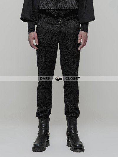 Punk Rave Black Gothic High Waist Jacquard Trousers for Men