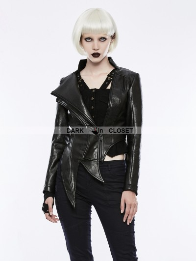 Punk Rave Black Gothic Punk Irregular Shaped PU Leather Jacket for Women