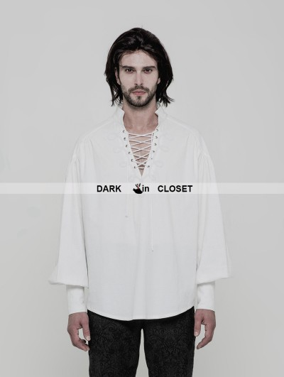 Punk Rave White Gothic Steampunk Long Sleeve Shirt for Men