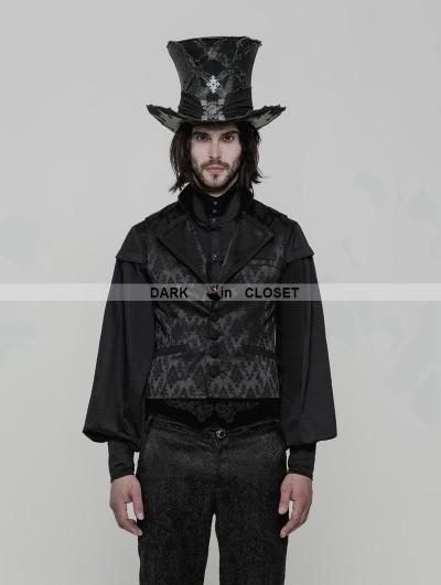 Punk Rave Black Gothic Gorgeous Jacquard Vest for Men