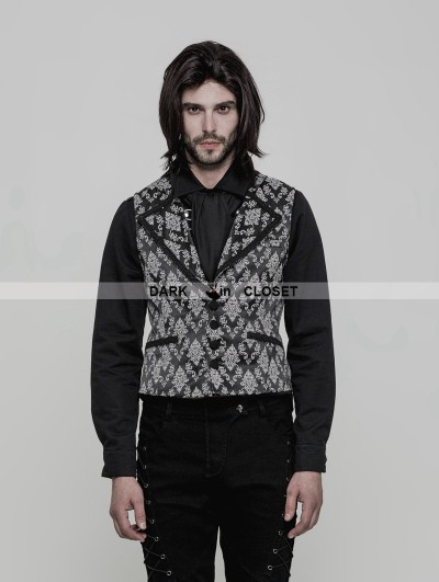 Punk Rave Black and White Gothic Gorgeous Jacquard Vest for Men