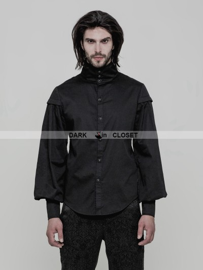 Punk Rave Black Gothic Vintage Gentleman Long Sleeve Blouse for Men
