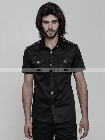 Punk Rave Black Gothic Punk Military Style Short Sleeve Shirt for Men