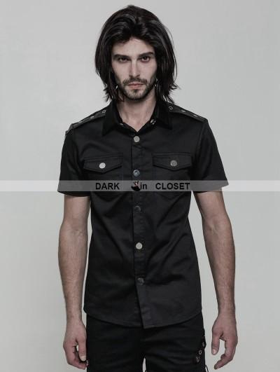 Punk Rave Black Gothic Punk Military Style Short Sleeve Shirt for Men