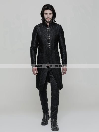 Punk Rave Black Vintage Gothic Gorgeous Jacquard Coat for Men