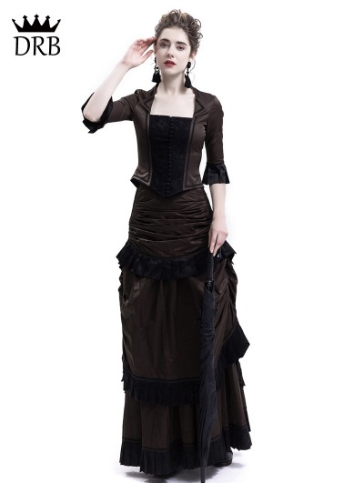 Rose Blooming Brown Victorian Bustle Dress