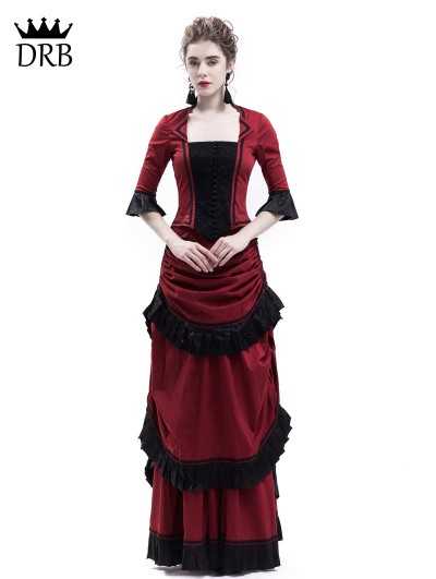 Rose Blooming Red Victorian Bustle Dress