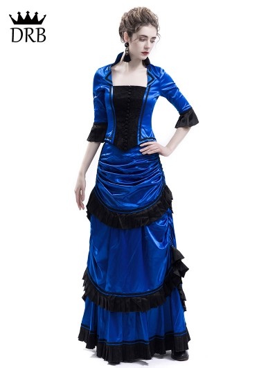 Rose Blooming blue Victorian Bustle Dress