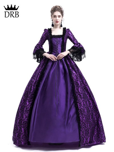 Rose Blooming Purple Masked Ball Gothic Victorian Costume Dress