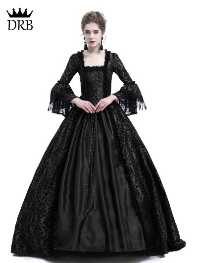 Rose Blooming Black Masked Ball Gothic Victorian Costume Dress