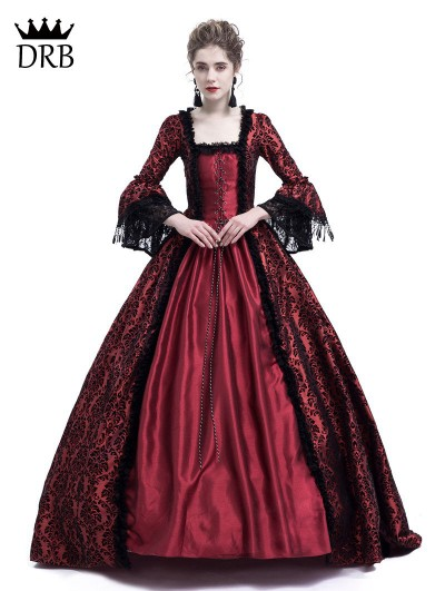 Rose Blooming Red Masked Ball Gothic Victorian Costume Dress