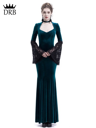 Rose Blooming Blue Velvet Dark Queen Morticia Addams Gothic Victorian Dress