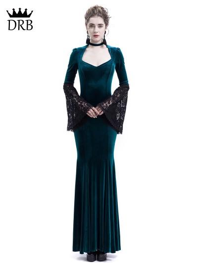 Rose Blooming Blue Velvet Dark Queen Morticia Addams Gothic Victorian Dress