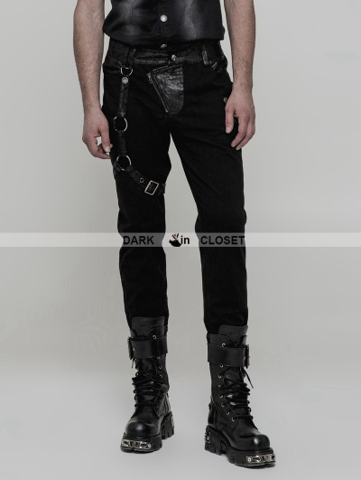 Punk Rave Black Men's Gothic Punk Trousers with Removable Loop