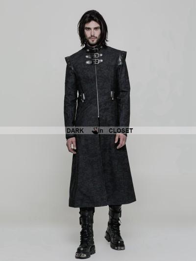 Punk Rave Black Gothic Punk Military Style Handsome Coat for Men