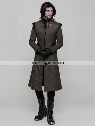 Punk Rave Green Gothic Punk Military Style Handsome Coat for Men