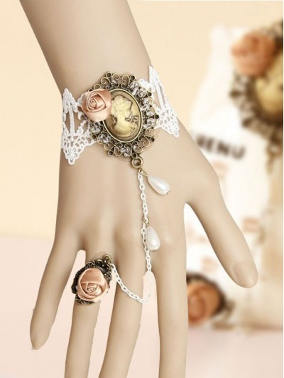 Handmade White Lace Victorian Lolita Bracelet Ring Jewelry