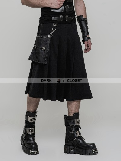 Punk Rave Black Gothic Punk Rock Pleated Half Skirt for Men