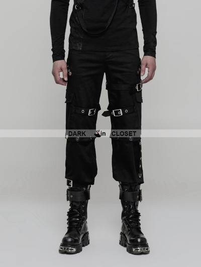 Punk Rave Black Gothic Punk Handsome Uniform Trousers for Men