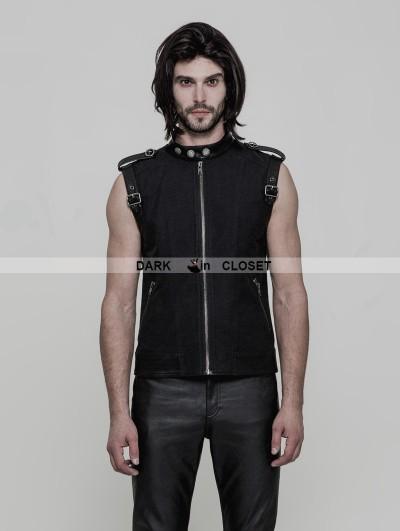 Punk Rave Black Gothic Punk Daily Vest for Men