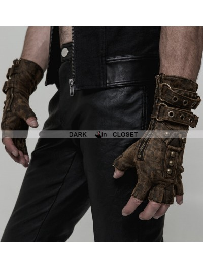 Punk Rave Coffee Steampunk Gloves for Men